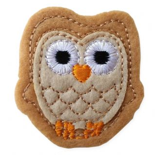 LIGHT BROWN OWL MOTIF IRON ON EMBROIDERED PATCH APPLIQUE